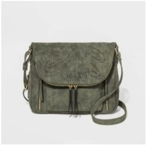 Laser cut floral crossbody messager bag